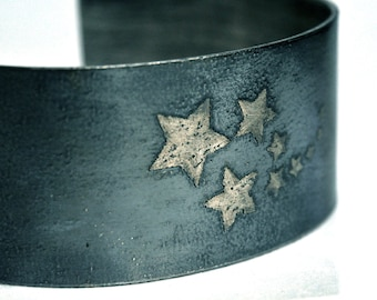 Stars Etched in Sterling Silver Handmade Cuff Bracelet