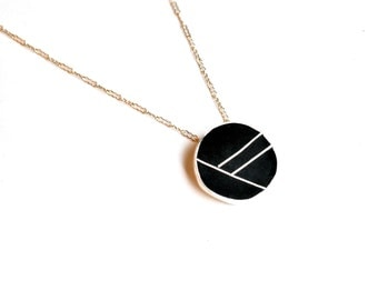 Resin and Silver Necklace Black Graphic
