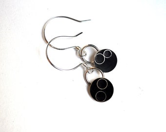 Black Resin and Sterling Silver Earrings
