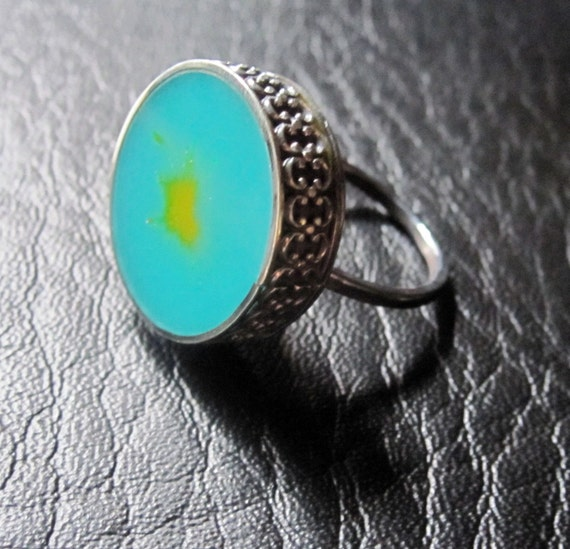 Resin and Silver Ring Teal and Yellow Drop