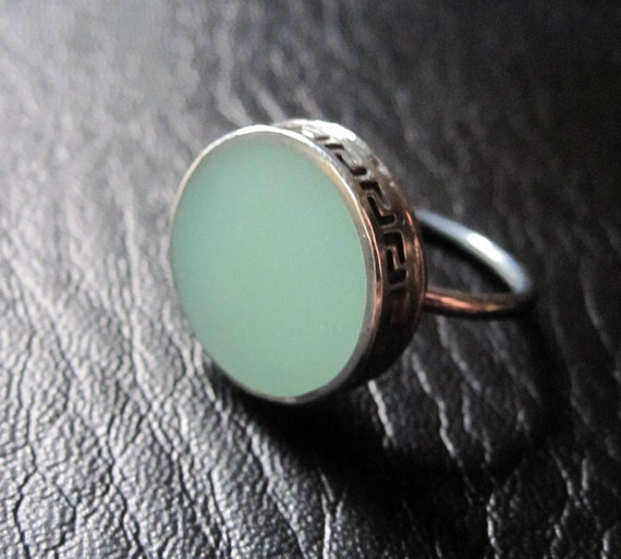 Silver and Sea Foam Green Resin Ring