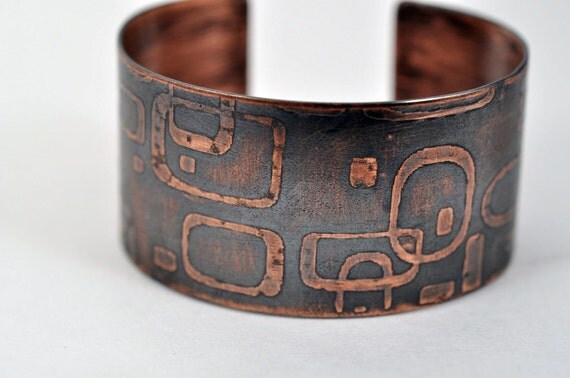 Mod Etched Copper Cuff Bracelet