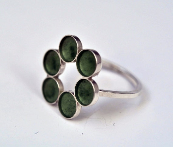 Resin and Sterling Silver Ring Forest Green