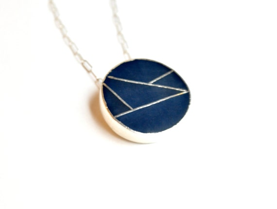 Sterling Silver and Navy Blue Necklace