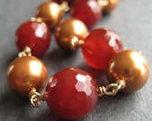 Free Shipping - Gold-Filled Carnelian and Pearl Necklace