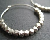 Faceted Sterling Silver Hoop Earrings