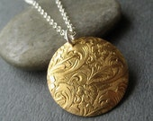 Etched Brass Disc and Sterling Necklace