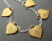 Brass Leaves and Sterling Silver Chain Necklace