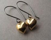 Gold Vermeil Earrings, Gold Vermeil Hearts Oxidized Sterling Silver Earrings