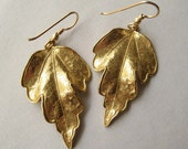 Leaf Earrings, Bronze Leaf Earrings, Leaves Autumn Fall Woodland