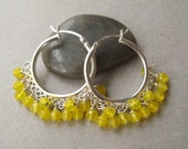 Gemstone Hoop Earrings, Faceted Yellow Chalcedony Sterling Silver Hoop Earrings Under 50 Etsy Free Shipping