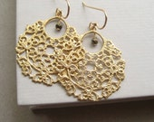 Gold Filigree Earrings, Faceted Pyrite Gold-Plated Pewter Filigree Earrings