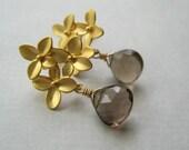 Smoky Quartz Earrings, Faceted Briolette Earrings, Gemstone Wire Wrapped Earrings, Brass Flower Earrings, Floral Jewelry