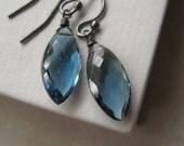 London Blue Topaz Earrings, Faceted London Blue Topaz Oxidized Sterling Silver Earrings Under 50