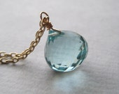 Blue Quartz Necklace, Faceted Briolette Necklace, Gemstone Gold Fill Necklace, Aqua Aquamarine Necklace, Under 50