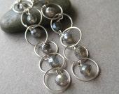 Labradorite Earrings, Long Faceted Mystic Labradorite Gemstone Sterling Silver Chain Earrings