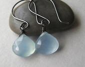 Chalcedony Earrings, Faceted Blue Chalcedony Gemstone Oxidized Sterling Silver Earrings