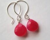 Gemstone Earrings, Faceted Hot Pink Chalcedony Briolette Sterling Silver Earrings