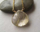Rutilated Quartz Necklace, Faceted Rutilated Quartz Gemstone Briolette Gold-Filled Chain Necklace