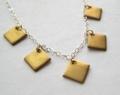 Brass Charm Necklace, Brass Diamond Geometric Sterling Chain Necklace
