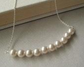 Crystal Pearl Necklace, Swarovski Necklace, Bridal Jewelry, Wedding Jewelry White Cream