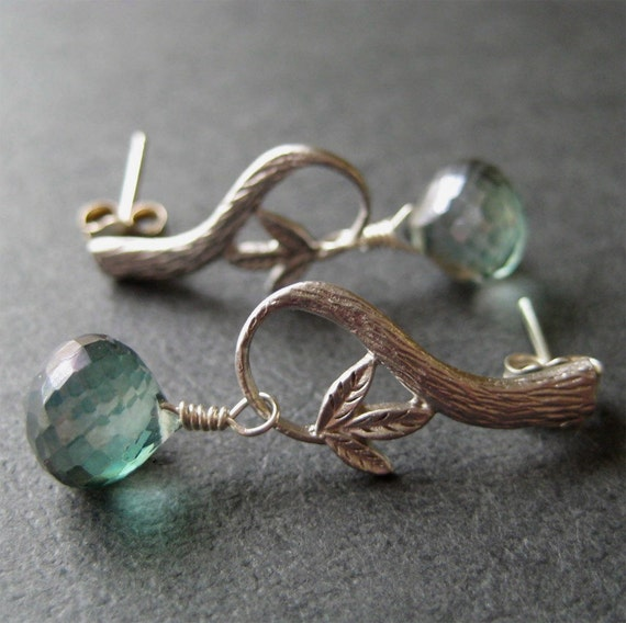 Twig and Faceted Mystic Quartz Briolette Earrings