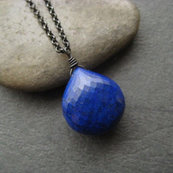 Faceted Lapis Lazuli and Oxidized Sterling Necklace