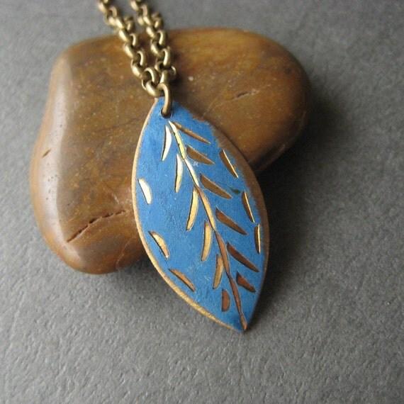 Vintage Brass Necklace, Vintage Tribal Geometric Chevron Pendant and Brass Chain Necklace Under 25