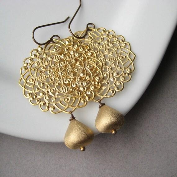 Gold-Plated Filigree Earrings