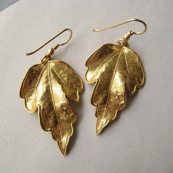 Leaf Earrings, Bronze Leaf Earrings, Leaves Autumn Fall Woodland