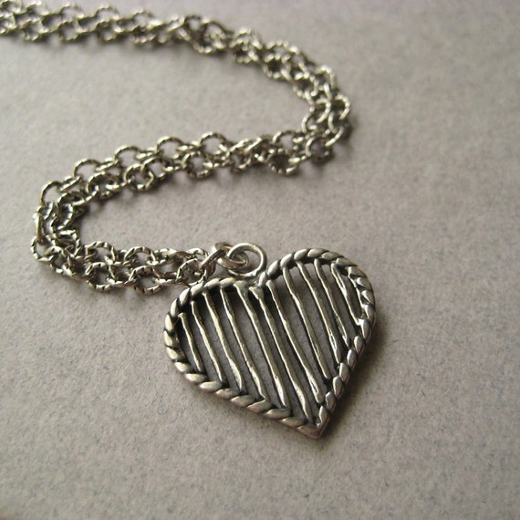 Heart Pendant Necklace, Pewter Heart Sterling Silver Chain Necklace