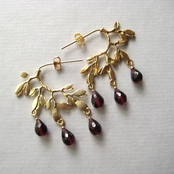 Garnet Earrings, Faceted Garnet Gemstone Briolettes Gold-Plated Brass Earrings Under 50