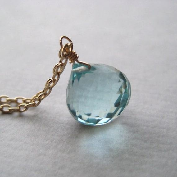 Blue Quartz Necklace, Faceted Briolette Necklace, Gemstone Gold Fill Necklace, Aqua Aquamarine Necklace, Under 50