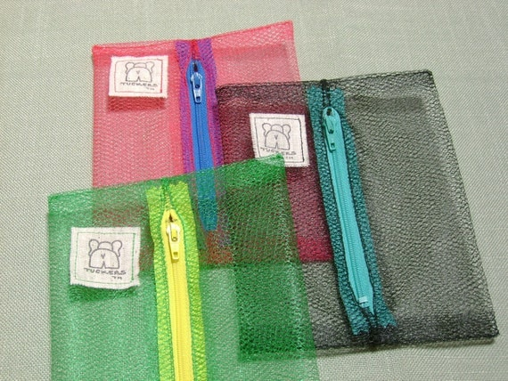 Organizers Tuckers Mini See-Thru Bags for Purse, Pocket, or Tote, Kelly Green, Black, Red Number 502