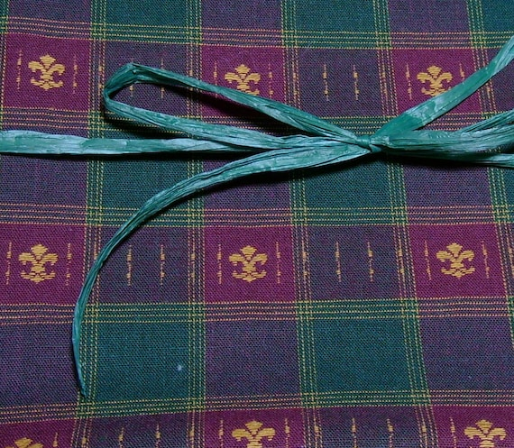 Fabric Destash Woven Plaid Fleur de Lis Remnant