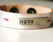 Hope Eternal Silver and Leather Bracelet...Hand Stamped...Modern...Simple...Encouragement...Free Shipping