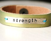 Strength Encouragement Silver and Leather Bracelet...Metallic Peridot...Modern...Simple...Free Shipping