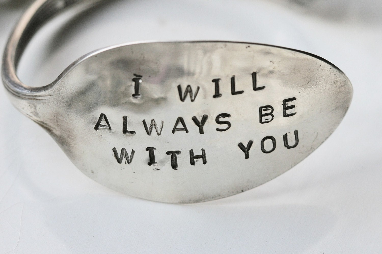 I Will Always Be With You Silver Spoon Cuff Bracelet