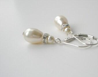 Ivory Pearl Drop Earrings, Pearl Bridal Earrings, Sterling Teardrop Earrings, Bridesmaid Jewelry, Bridal Accessory, Swarovski Cream Pearl