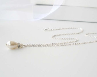 Ivory Pearl Bridal Necklace, Bridesmaid Jewelry, Pearl Teardrop Necklace with Sterling Chain, Bridal Accessory, Wedding Jewelry, Cream
