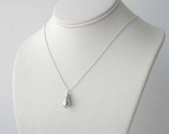 Grey Pearl Necklace, Gray Pearl Teardrop Necklace, Silver and Pearl Necklace, Bridesmaid Jewelry, Spring Wedding, Simple Pearl Necklace