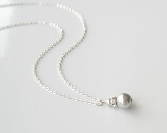 Gray Pearl Necklace, Pearl Necklace on Sterling Chain, Bridesmaid Jewelry, Simple Necklace, Handmade Wedding, Wedding Party Gift, Gray Pearl