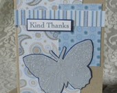Kind Thanks - Blank Note Card - Glittery Butterfly