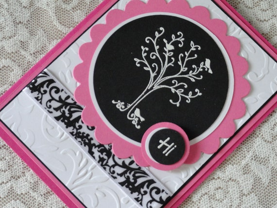 Hot Pink, Black and White Note Card - HI