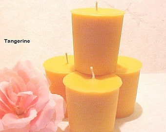 4 Soy Votive Candles TANGERINE Handmade by Black Mountain Candles