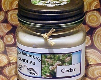 CEDAR Soy Candle in Mason Jar Black Mountain Candles