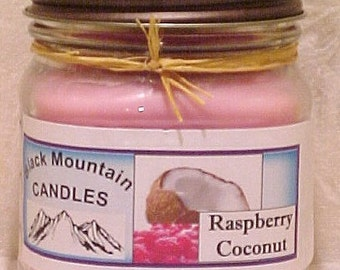 RASPBERRY COCONUT 8 ounce Handmade Soy Candle Black Mountain Candles