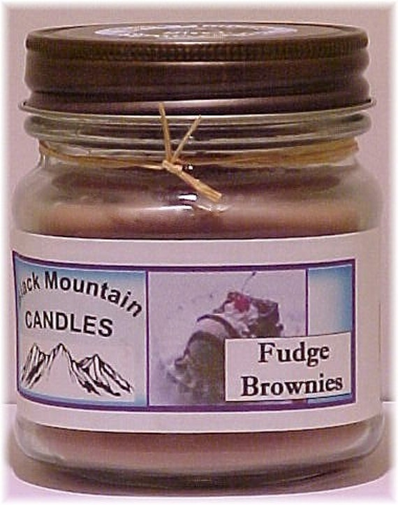 FUDGE BROWNIE Soy Candle in Mason Jar by Black Mountain Candles 8 ounces