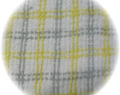 Vintage Chenille Bedspread Fat Quarter Quilt Square Fabric 18x24 Yellow Gray Plaid