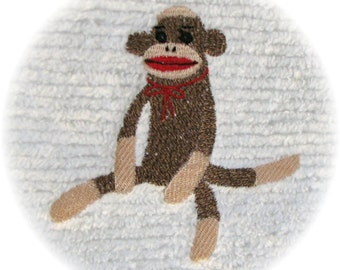 Machine Embroidered Sock Monkey Vintage Chenille Bedspread Quilt Charm Square M2M